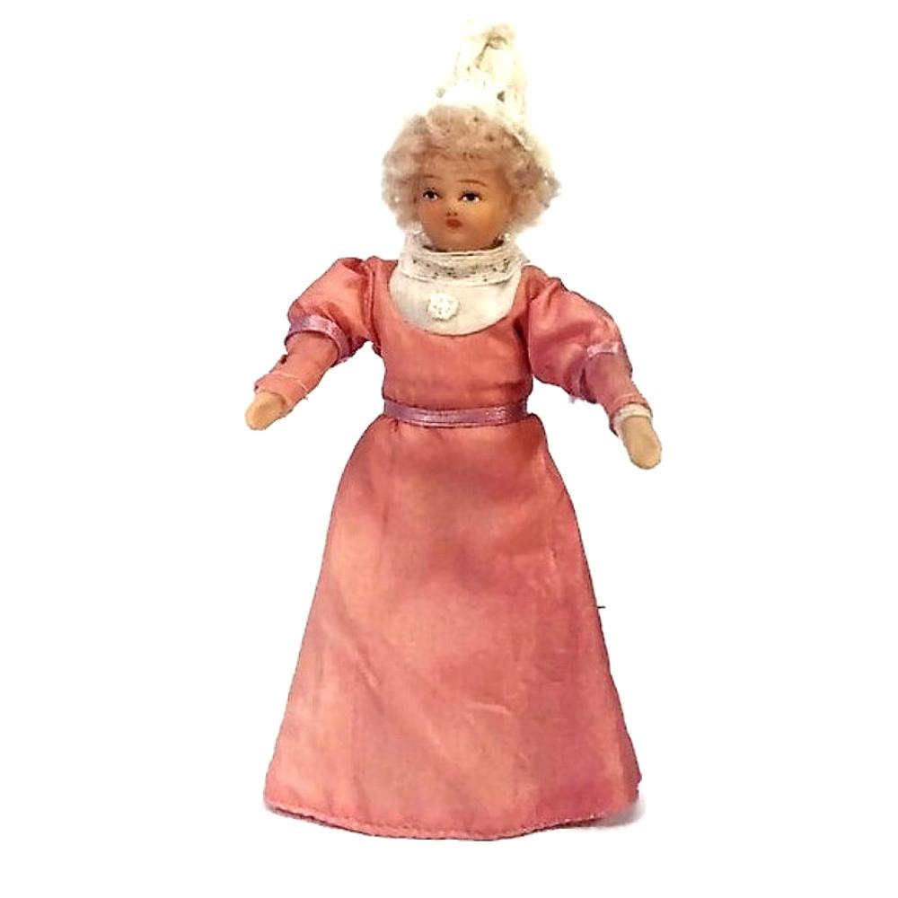 Bambolina vintage in porcellana per casa delle bambole