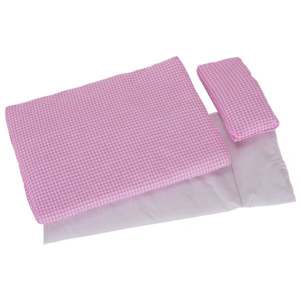 Biancheria lettino per bambole, rosa quadrettato