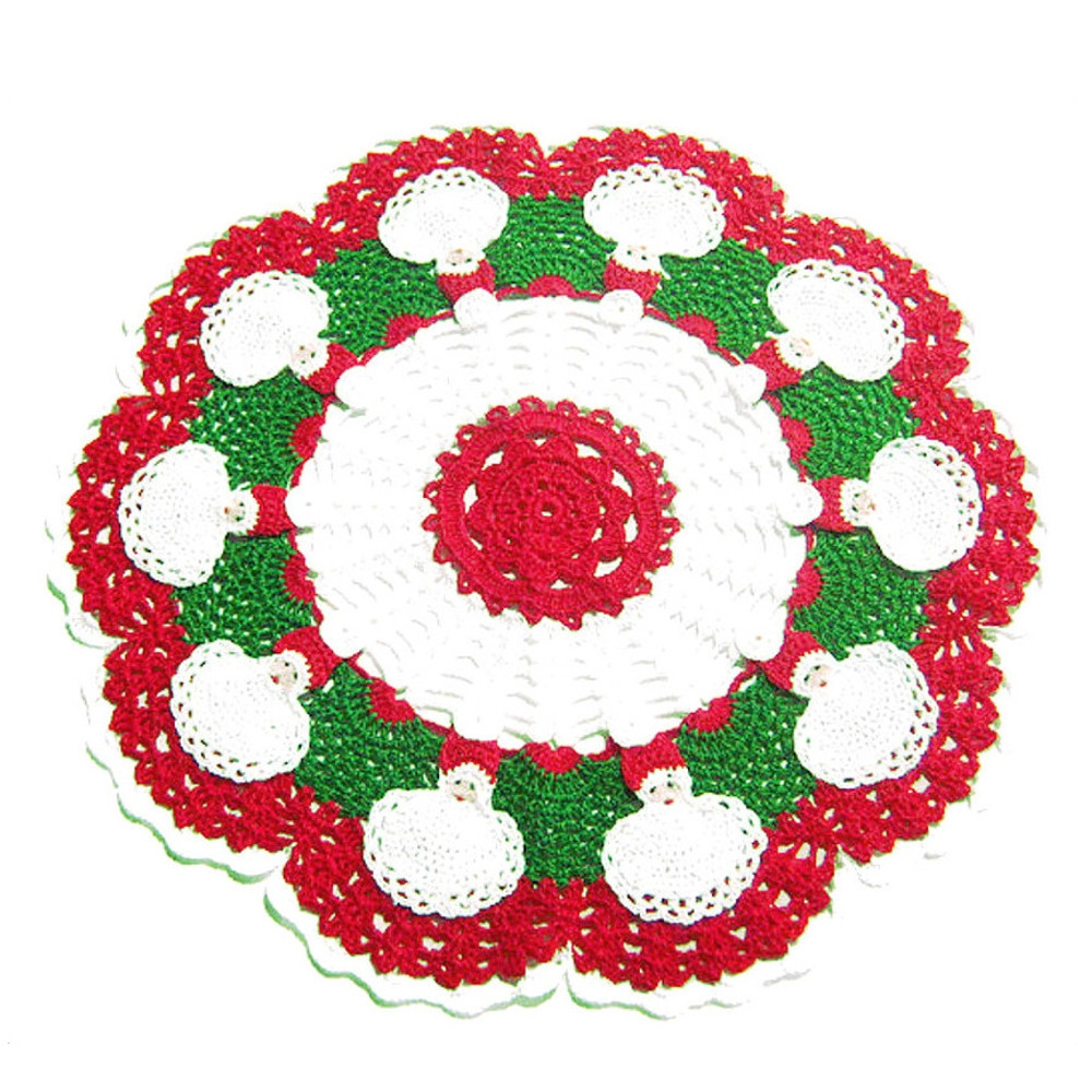 CENTRINO rosso e bianco con Babbo Natale all'uncinetto