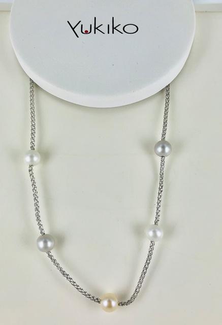 Girocollo in argento 925 yukiko catena fantasia con cinque perle passanti