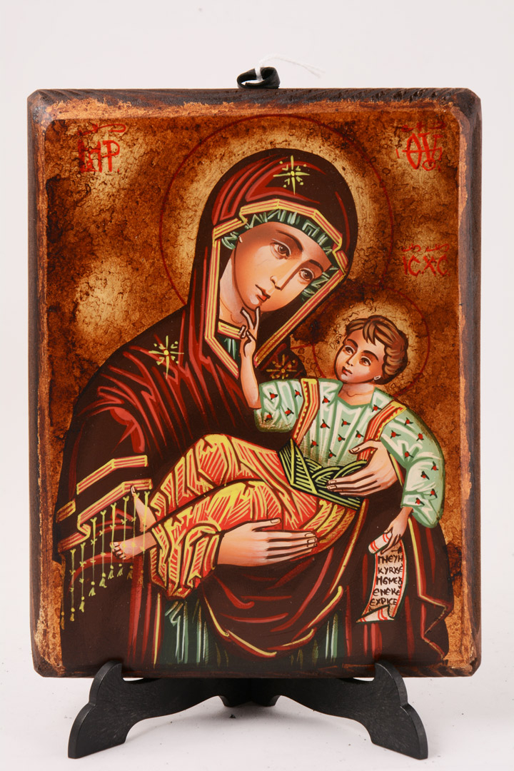 Icona bizantina dipinta Madonna con Bambino 17 x 13 cm