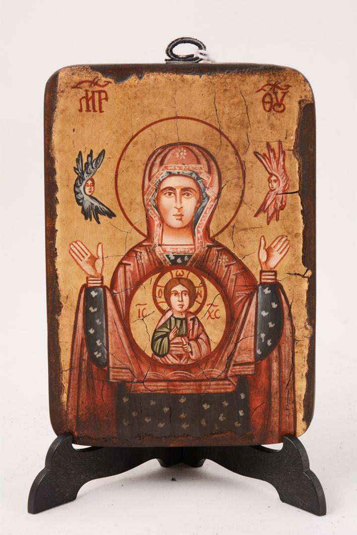 Icona bizantina dipinta Madonna con Bambino 13 x 9 cm