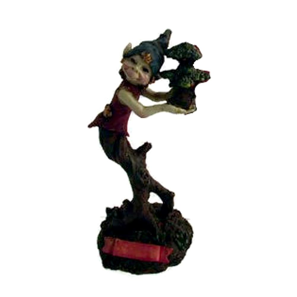 Statuina Pixie sull'albero in resina