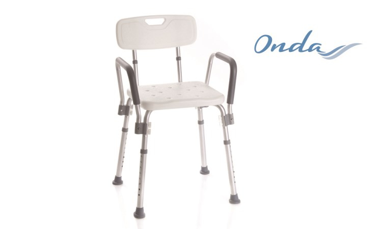 Sedile per doccia con braccioli e schienale
