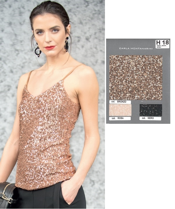 Top paillettes spallina