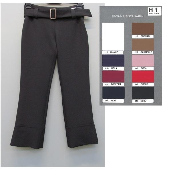 Pantalone con bordo alto fondo, cintura in vita, passanti larghi
