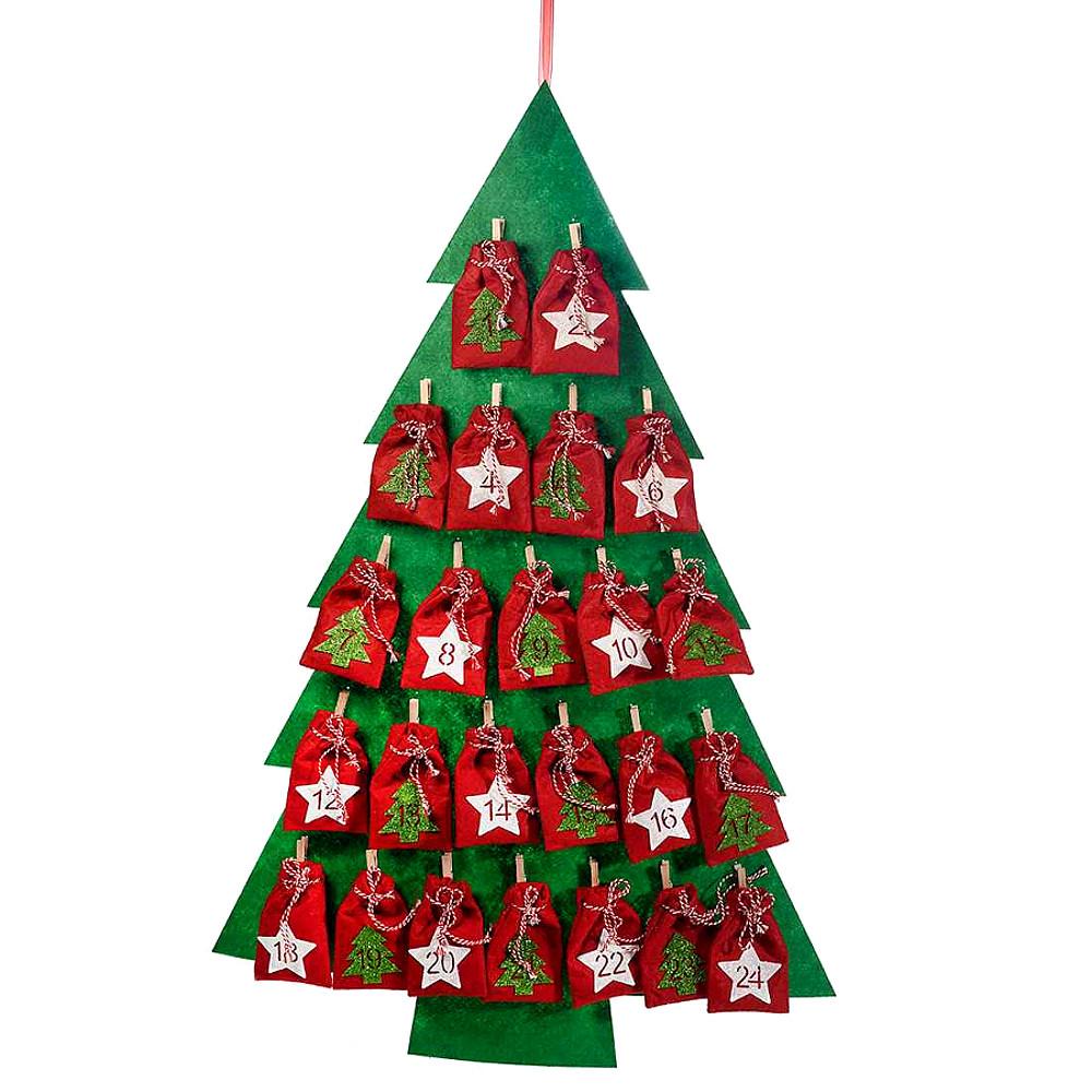 Presina Albero Di Natale Uncinetto.Calendario Dell Avvento Albero Di Natale Con Sacchettini