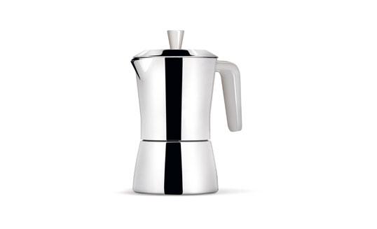 GIANNINI CAFFETTIERA TUA 3/6 TAZZE IN ACCIAIO MANICO E POMOLO BIANCHI 6519