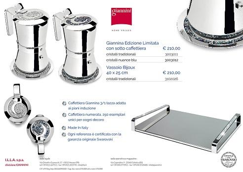 GIANNINI GIANNINA RESTYLING CAFFETTIERA 3/1 TAZZE EDIZIONE LIMITATA CON CRISTALLI SVAROVSKY BLU 3003012