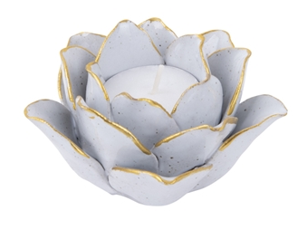 PRESENT TIME TEALIGHT IN PORCELLANA LINEA HOLDER FIORE COLORE BIANCO 10,5X10,5X5,5 PT3508WH