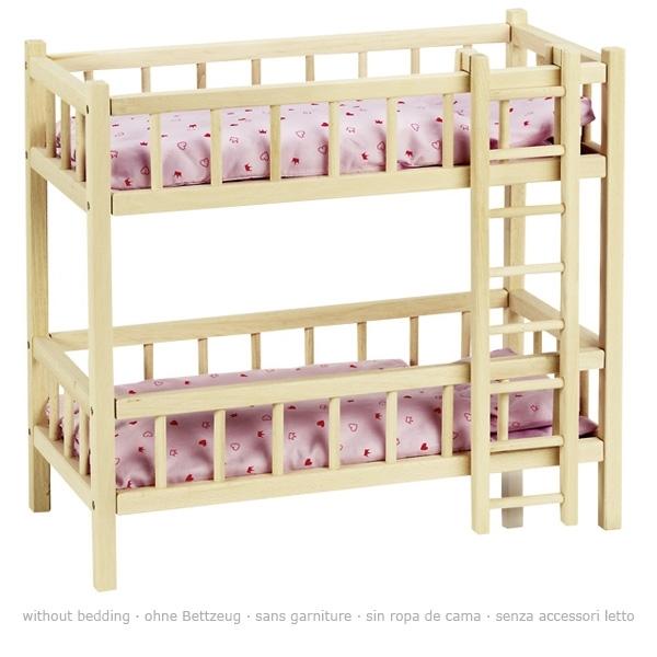 Letto a castello in legno per bambole
