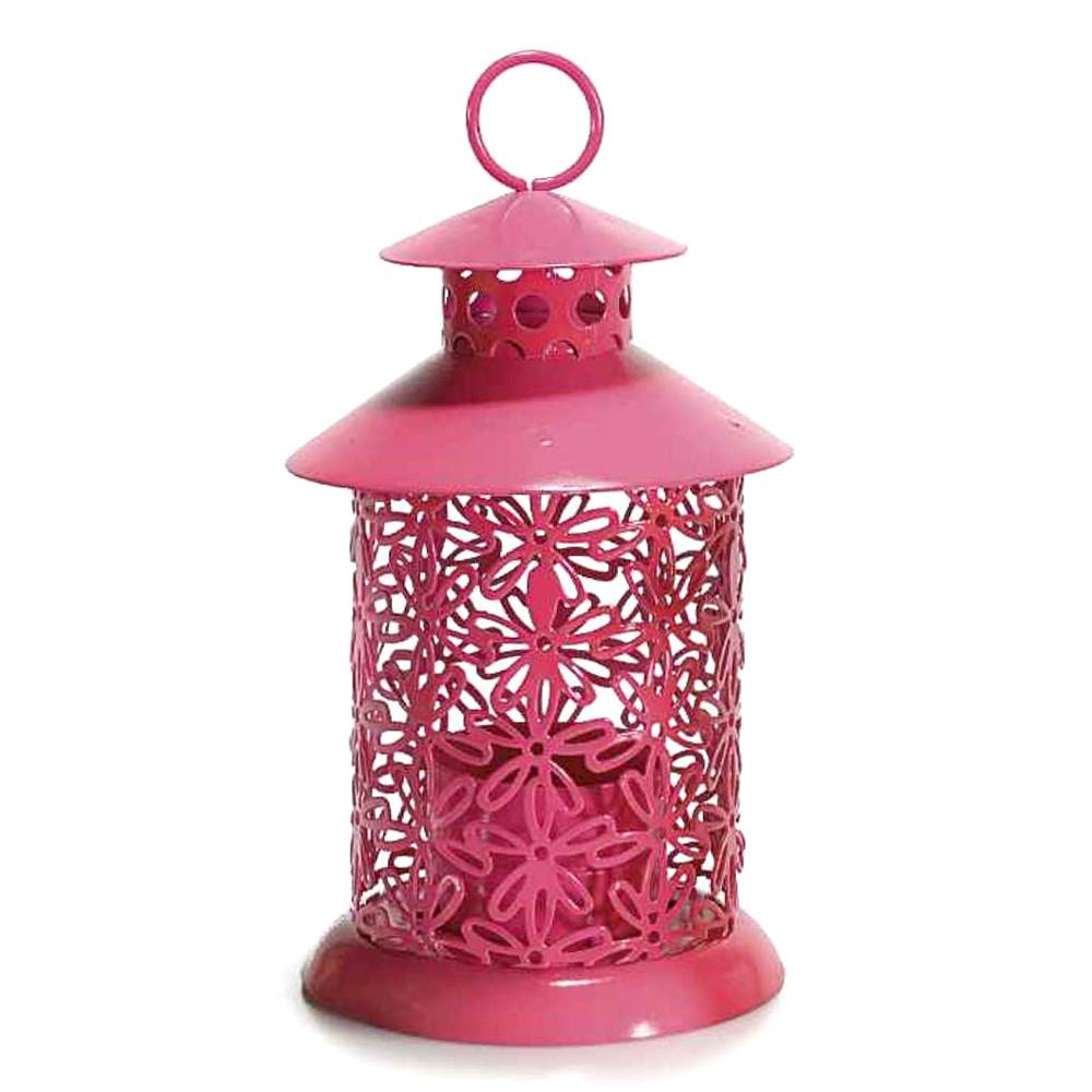 Lanterna portacandela rosa scuro in metallo intagliato