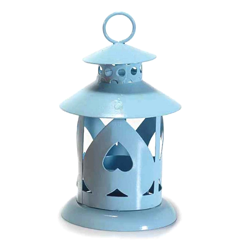 Lanterna portacandela azzurra in metallo intagliato
