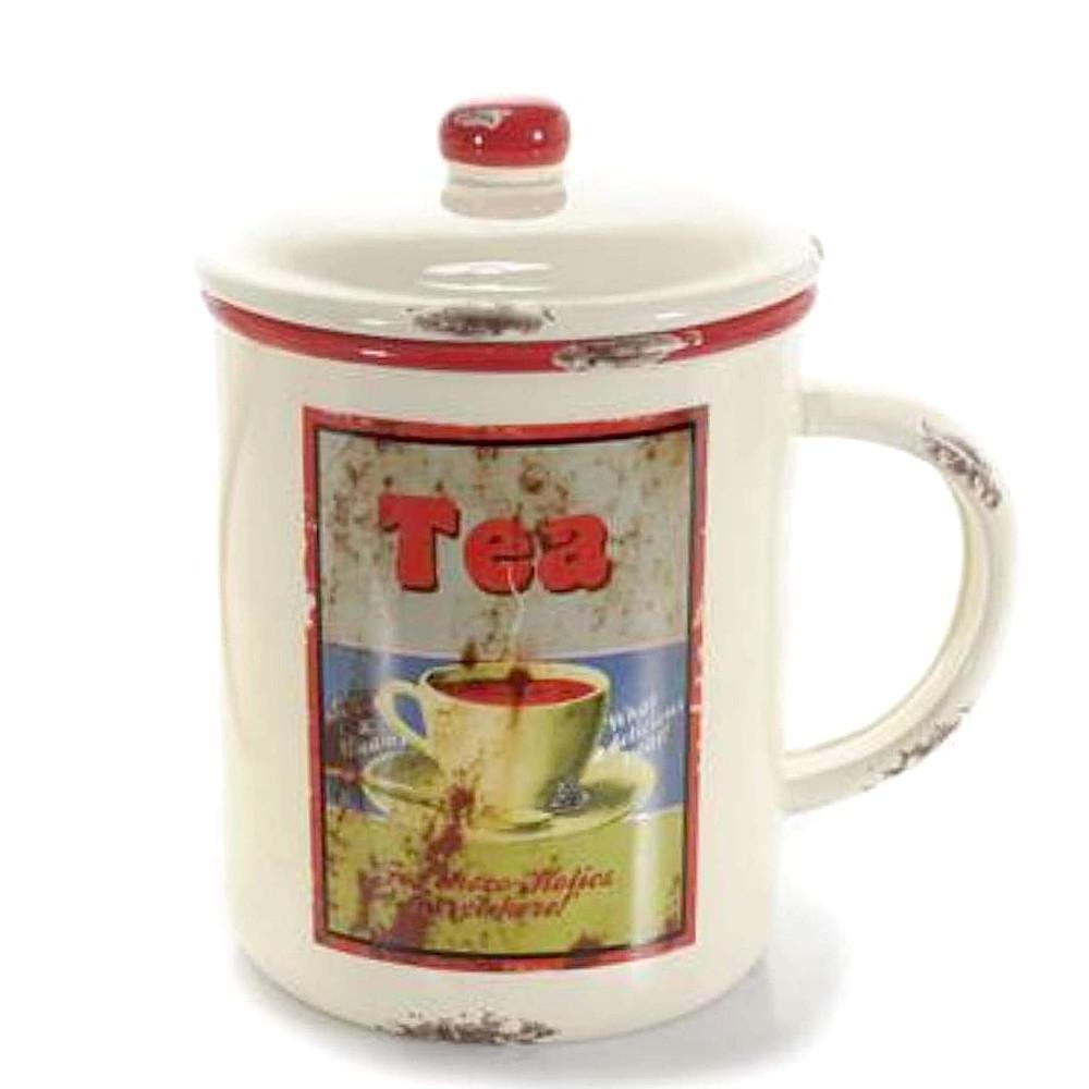 Barattolo Tea con coperchio ermetico e manico in ceramica anticata