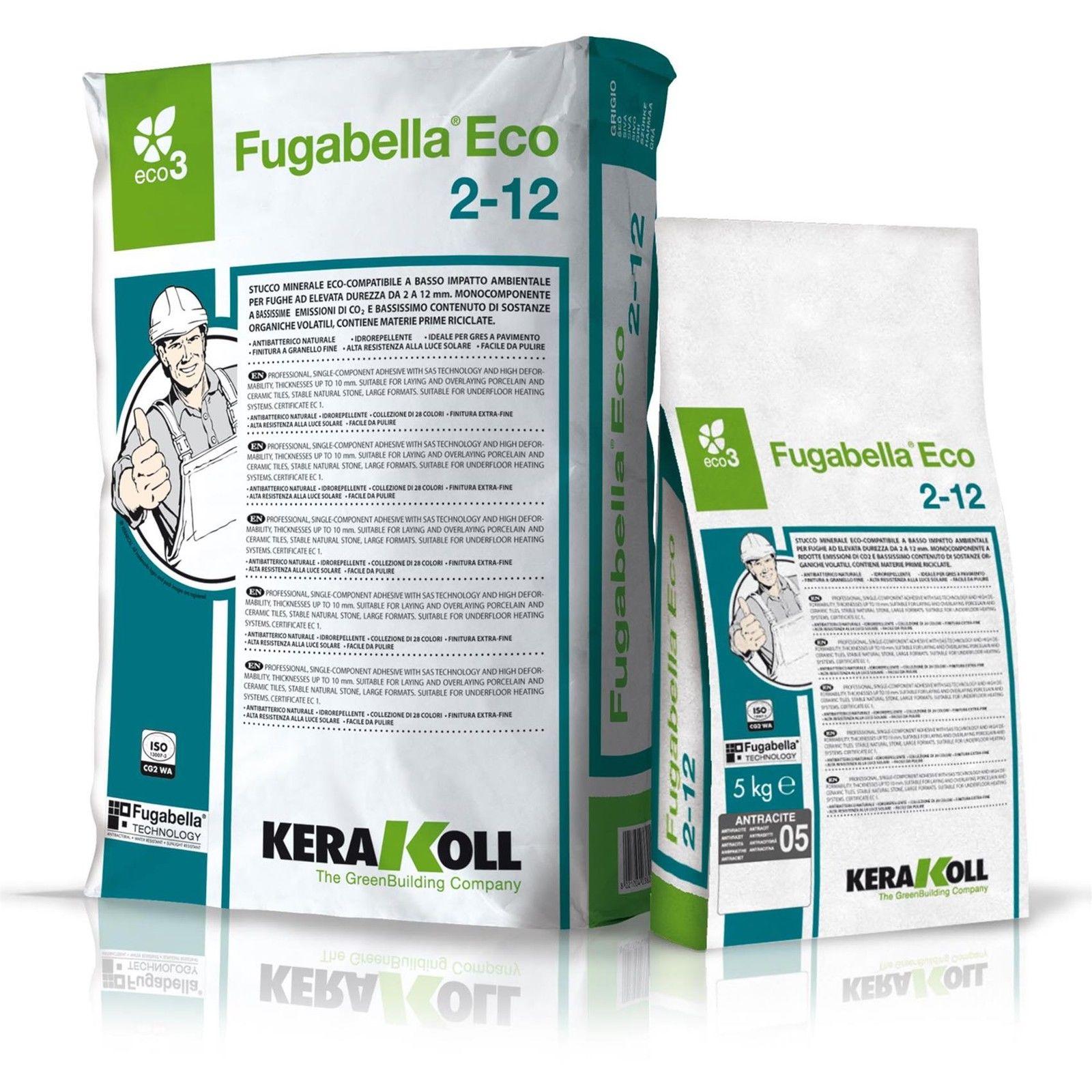 Kerakoll fugabella eco 2-12 stucco fuga per piastrelle grigio ferro kg5