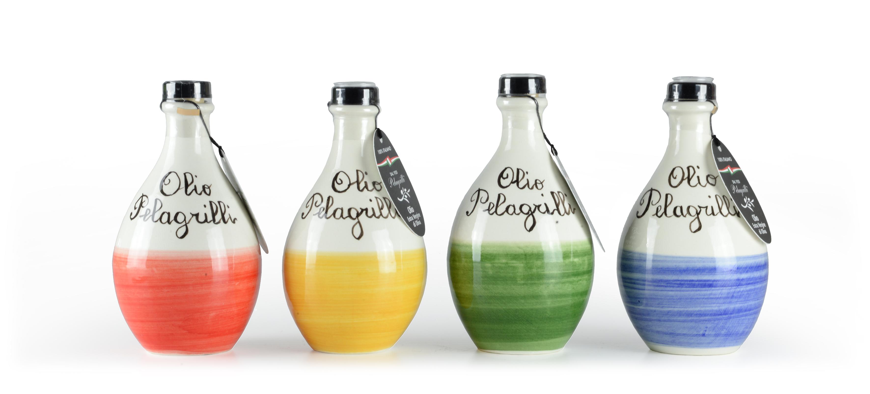 Ampolla in Ceramica olio extra vergine di oliva Nuovo Raccolto 2019- 2020 Italiano estratto a freddo  Ceramica fatta e dipinta a mano in Umbria da lt. 0,25