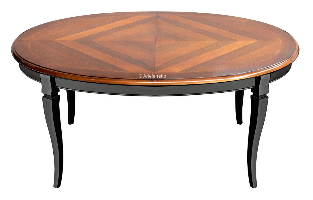 Tavolo ovale bicolore intarsiato