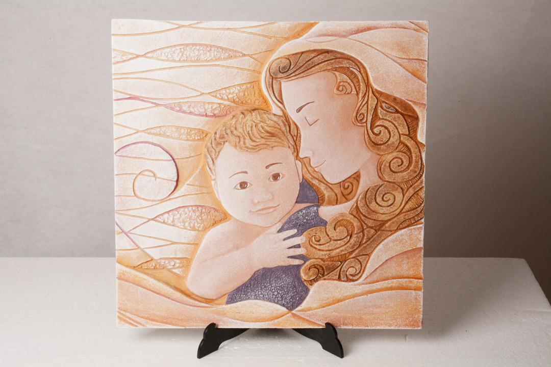 Cartapietra Quadro Madonna con Bambino 40x39 cm