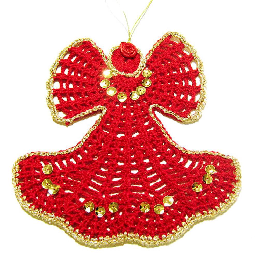 ANGELO rosso per Natale all'uncinetto