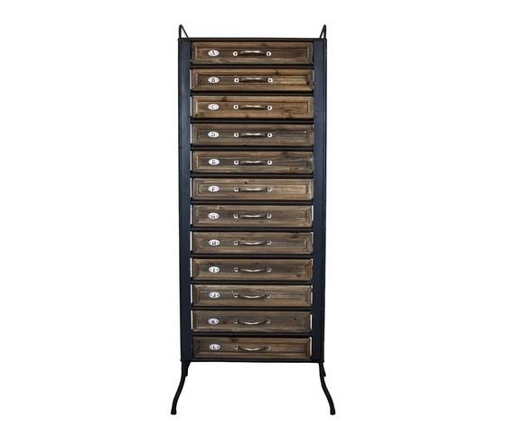Cassettiera legno e ferro 12 cassetti settimanale Stile Industrial