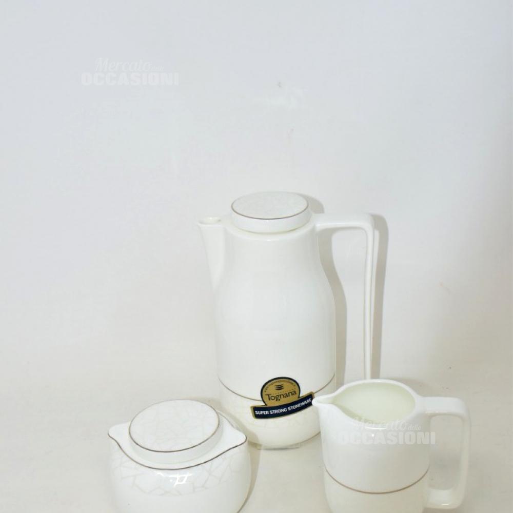 Teiera + Zuccheriera + Lattiera Ceramica Bianca Con Lavorazione Andrea Fontebasso