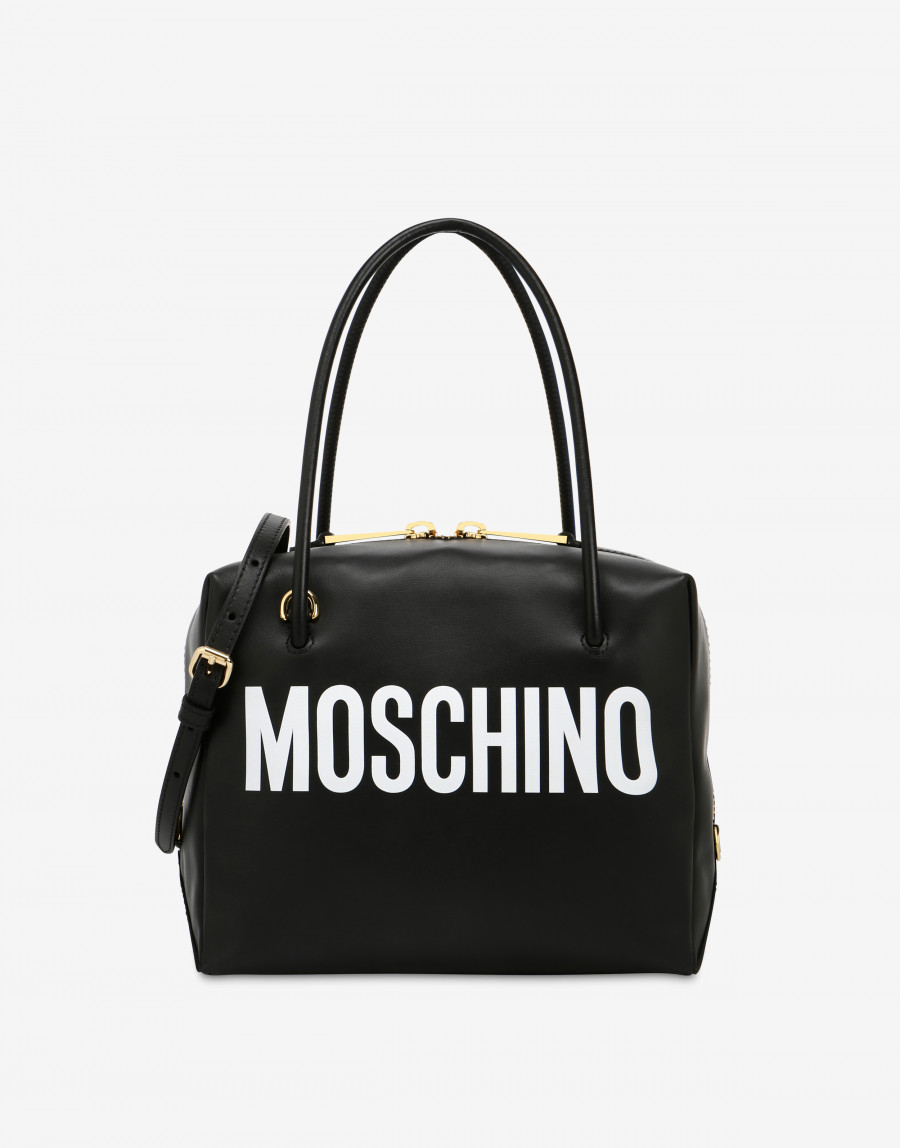Bauletto in pelle con logo MOSCHINO