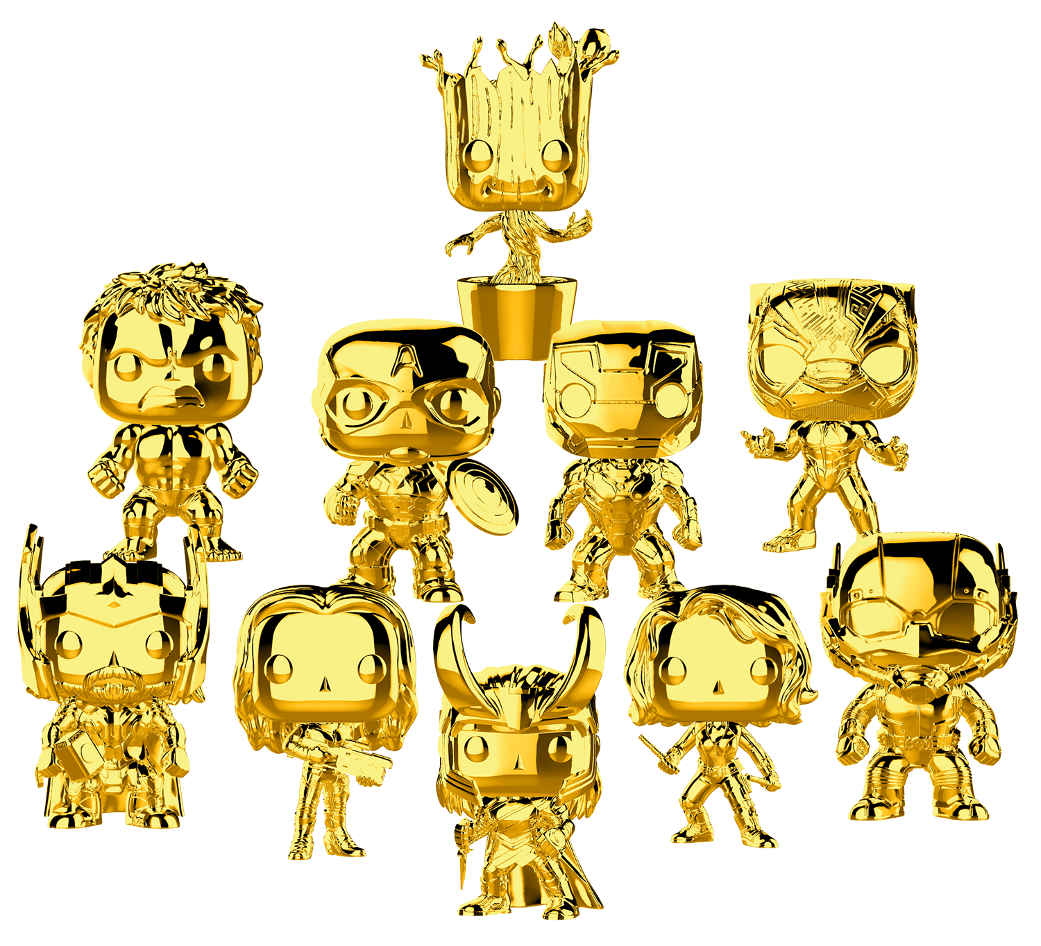 FUNKO POP! Marvel Studios: The First Ten Years Gold Chrome Set of 10