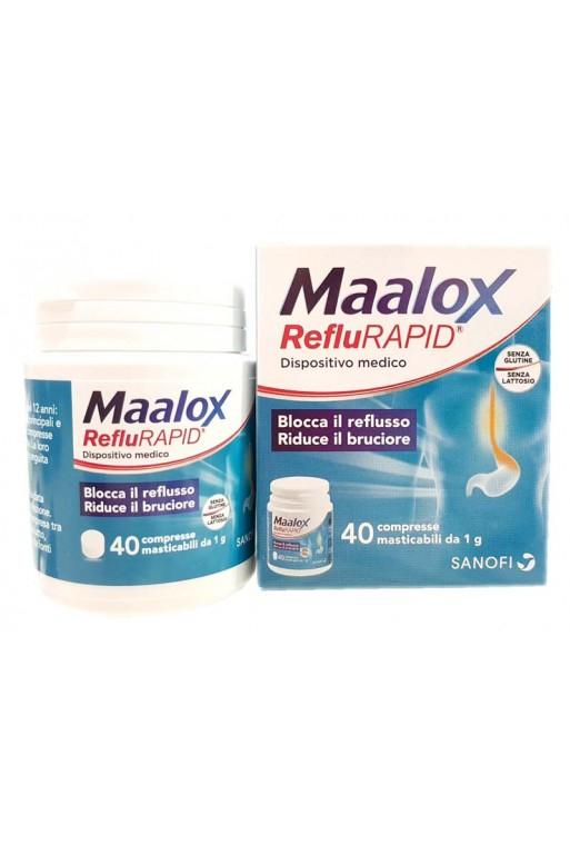 MAALOX REFLURAPID 40 COMPRESSE MASTICABILI 1 G BLOCCA IL REFLUSSO - RIDUCE IL BRUCIORE. SENZA GLUTINE. SENZA LATTOSIO.