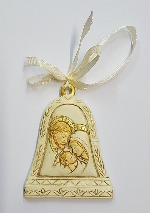 FINE SERIE 9 pezzi - Campana in resina Sacra Famiglia