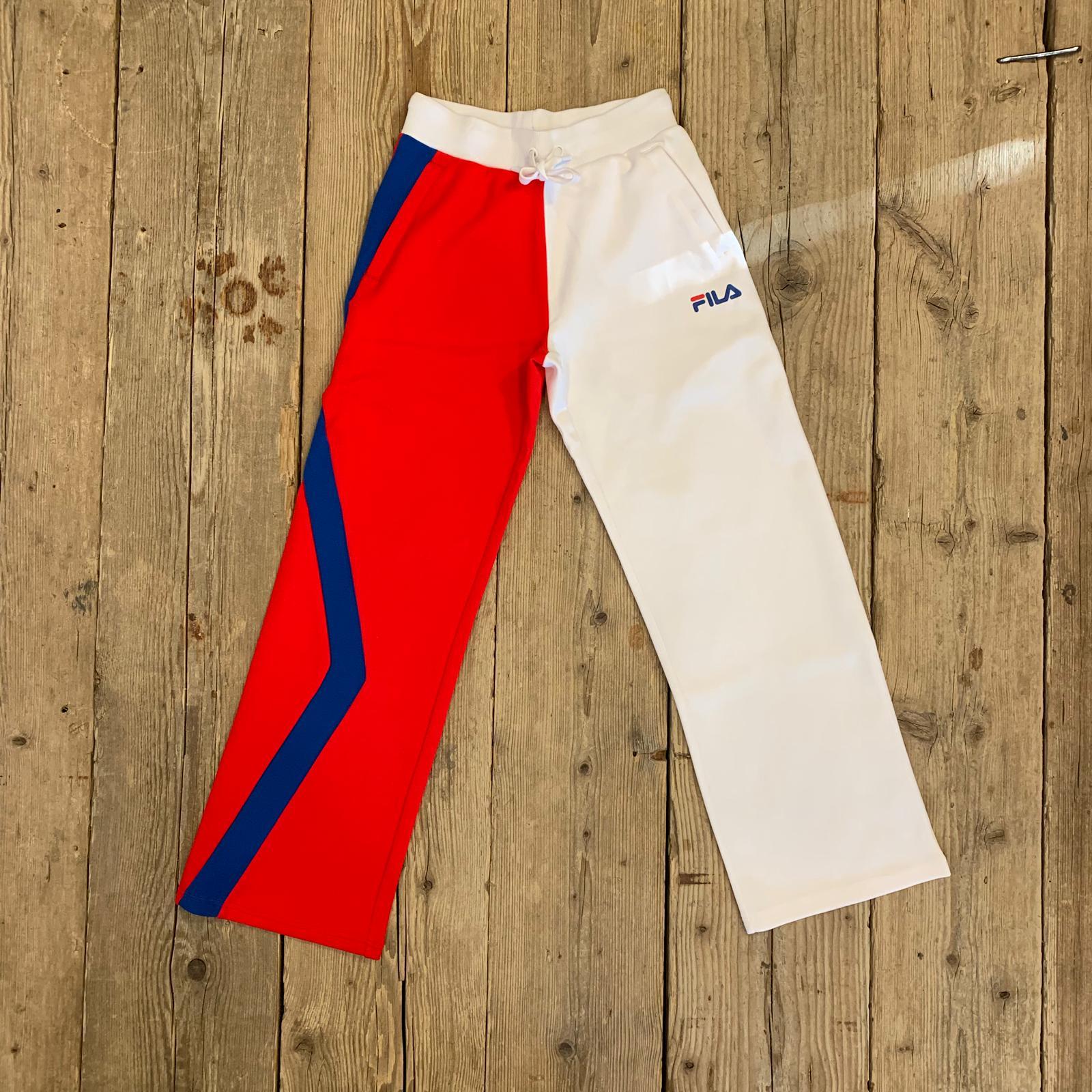 Pantalone Fila Women Sayuri A Palazzo Doppio Colore Rosso e Bianco