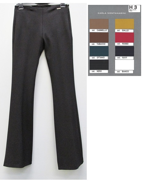 Pantalone a zampa con fascetta interna e lampo
