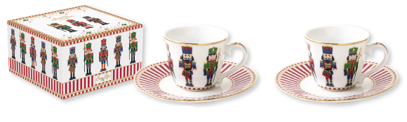 SET 2 TAZZINE DA CAFFE' CON PIATTINO IN PORCELLANA IN SCATOLA REGALO LINEA NUTCRACKER 1107 NUTC