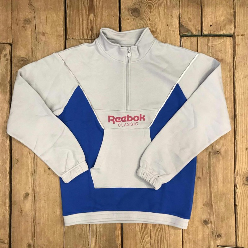 Felpa Reebok CL R HZ Con Colletto Grigio e Bluette