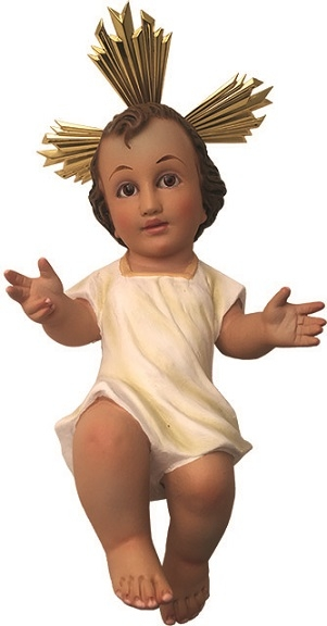 Gesù Bambino in gesso con veste cm. 25
