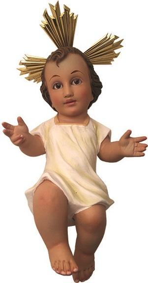 Gesù Bambino in gesso con veste cm. 35