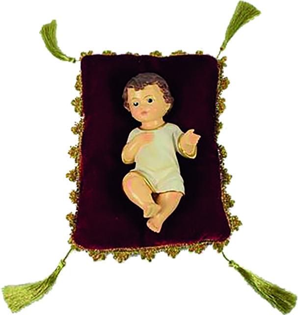 Gesù Bambino in resina su cuscino di velluto (cm. 15)