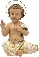 Gesù Bambino seduto dipinto a mano in resina cm. 5
