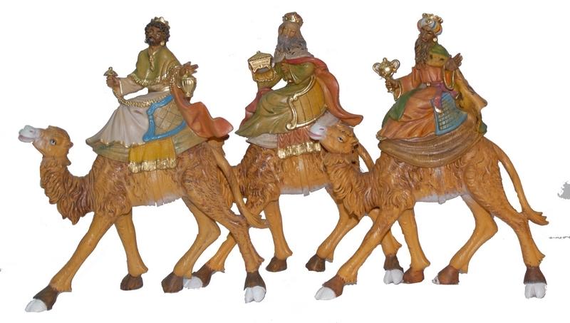 Serie 3 Re Magi su cammello cm. 20