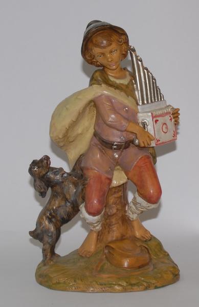 Pastore con organetto e cane cm. 30