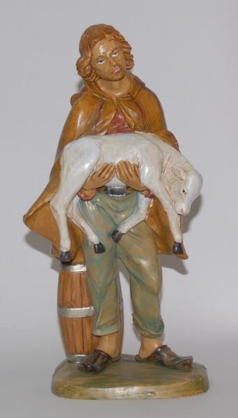 Pastore con pecora in braccio cm. 30