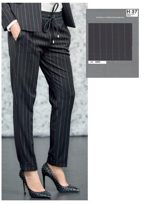 Pantalone tasche davanti fascia vita con elastico, monofiletti dietro