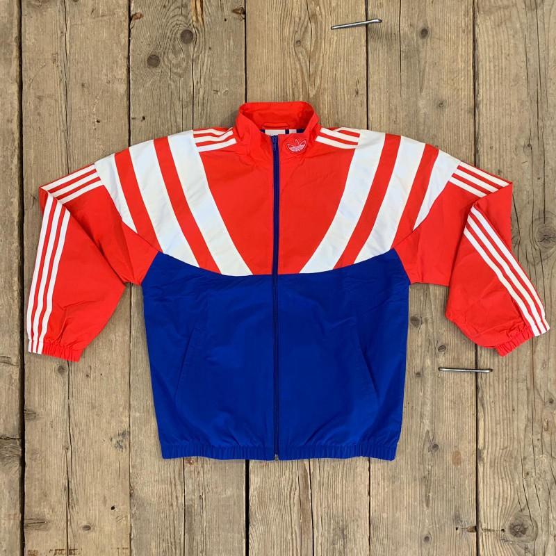Felpa Adidas BLNT 96 in Nylon Rossa e Blu con Strisce Bianche