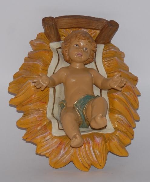 Gesù Bambino in culla in plastica cm. 45