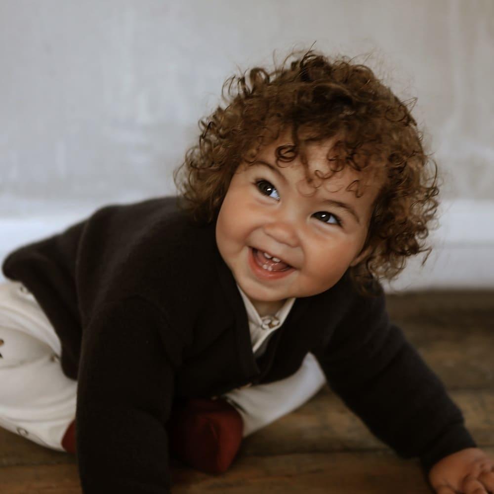 Giacca neonati in lana merino blu
