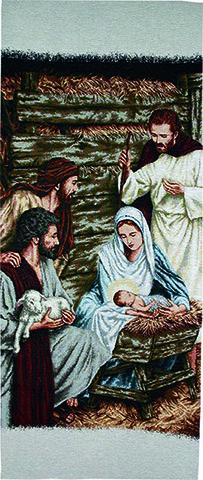 Copri leggio ricamo a telaio Natività e pastori