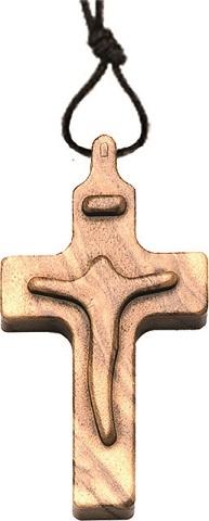 Croce in ulivo corpo in rilievo cm. 3 con cordoncino