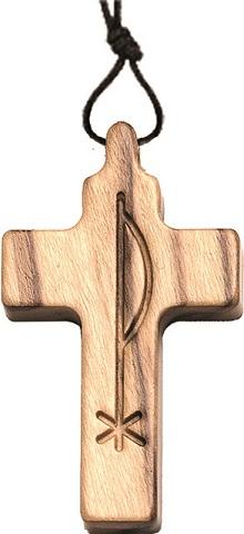 Croce in ulivo Pax cm. 3 con cordoncino