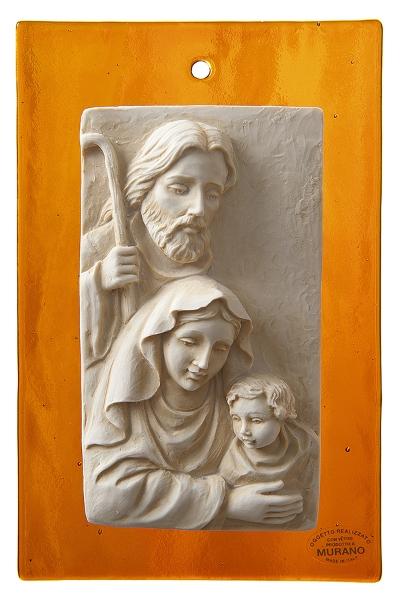 Sacra Famiglia su vetro di Murano