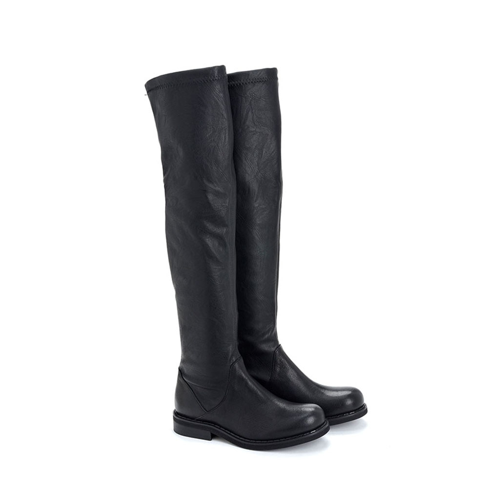 Stivali alti stretch in pelle di vitello nera - CHIARINI BOLOGNA