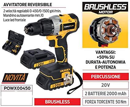 Powerplus avvitatore con percussione brushless POWX00450 potenza20v 2 batterie 2000mAh